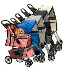 Lucky Lola Folding 4 Wheel Pet Stroller Carrier Dog Cat Rain Cover CHOOSE COLOR