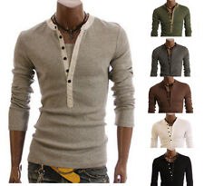 Mens Slim Fit Top Desiged Muscle T-Shirt Tee Henley Short Sleeve V-neck Shirts