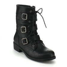 REFRESH DASON-08 Women Military Lace up Buckle Strap Mid-calf Riding Combat Boot