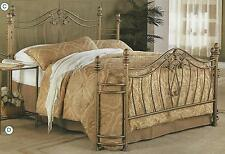 NEW QUEEN or FULL SIZE GOLD FINISH IRON METAL HEADBOARD & FOOTBOARD BED