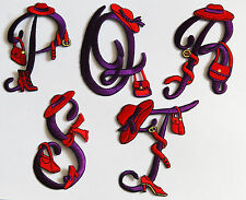 Red Hat Fabric Initial P to T / Sew or Iron-on / Crafts / Scrapbook / Gift