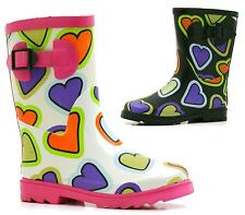 CHILDRENS KIDS GIRLS CALF LEG WELLIES WELLINGTON RAINY SNOW BOOTS SIZE 12-5