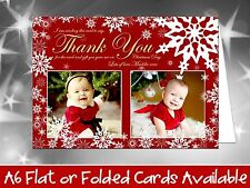 10 Personalised Christmas Greeting Cards Thank You Notes Snowflakes Photo Winter
