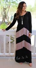PLUS SIZE BLACK TAUPE CHEVRON STRIPED BOHEMIAN LONG SLV TALL MAXI DRESS 1X 2X 3X