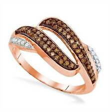 Elegant! 10K Rose Gold Chocolate Brown & White Diamond Open Twist Ring .33ct