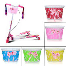 Bike Bicycle Cycle Front Basket Flowery Shopping Holder Children Kids Girls