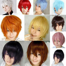 Fashion Short Wig Cosplay Party Costume Straight Wigs Full Wig +Cap 10 Colors
