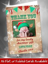 10 Personalised Christmas Thank You Cards Notes Vintage Bunting Snowflakes Photo