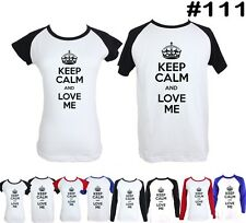 keep calm and love me Design Long Short Sleeve Couple T-Shirt Graphic Tee Tops