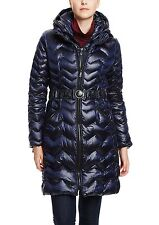 Nwt DL2 by DAWN LEVY Blue Karen Chevron Down Puffer Coat Belted Moncler Look