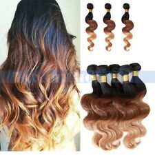 4 bundles Remy Brazilian Body Wave Ombre Human Hair Weave Extension weft 200g