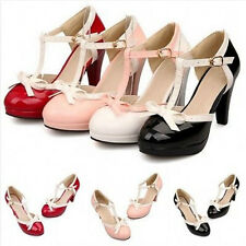 New Women's Bowtie T-Strap Platform Buckle High Heel Shoes Mary Jane Plus Size