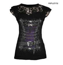 SPIRAL DIRECT Ladies Black Goth WAISTED CORSET Top Lace Pirate All Sizes