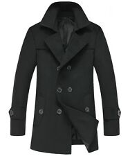 Hot Men's casual thick collar double-breasted wool coat overcoat