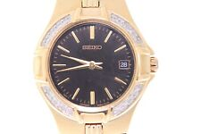 Ladies Seiko Gold-Tone Stainless Steel Black Dial Diamond Accent Watch
