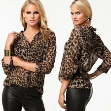 Fashion Women Chiffon T-shirt Leopard Print Long Sleeve Loose Casual Blouse Tops