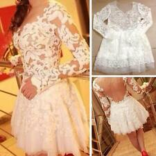 Sexy Women Lace Hollow Embroidery Long Sleeve Cocktail Evening Mini Dress OT8G