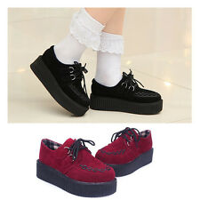 WOMENS LADIES FLAT PLATFORM WEDGE LACE UP GOTH PUNK CREEPERS SHOES BOOTS UK 3-7