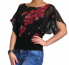 New Blouse Chiffon Top Womens Short Sleeve Ladies Tops Size 10 12 14 16 18 20