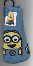 Kids Toddler Despicable Me Minion Blue Yellow Slipper Socks Gripper Non Skid NEW