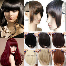 US Black Dark Brown Clip In On Bang bangs Fringe Hair Extension Extensions ss51