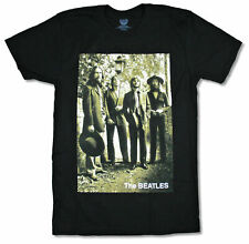 """BEATLES """"BEARDS"""" BAND PHOTO BLACK T-SHIRT NEW OFFICIAL ADULT"""
