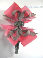 Girls Valinetine's Day Rhinestone Bling Hair Bow Hot Pink Gray Hearts Headband