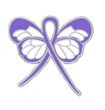 Periwinkle Ribbon Butterfly Pin Cancer Cause Awareness Esophageal Stomach IBS