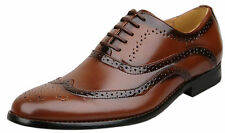 Mens Brand New Brown Leather Lined Lace Up Brogue Shoes Size 6 7 8 9 10 11 12