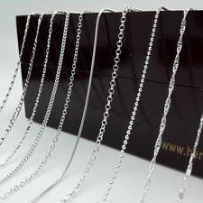 "Stock 12 Style Fashion Jewelry 925 Sterling Silver Chains Necklaces Gift 16""-30"""