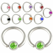 Pair Crystal captive bead septum piercing bcr eyebrow bar ball closure ring 9HJP