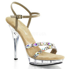 "5"" Nude Clear Platform Heels Rhinestone Bridal Dance Pageant Shoes size 7 8 9 10"