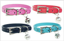 Cute Pet Cat Dog Soft PU Leather Adjustable Neck Collar With Bell C520-C523