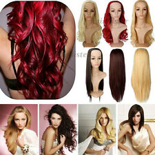 Long Hair Fall/Half Wig Curly Wavy Straight Party Wigs 100% Real Quality UK ss83