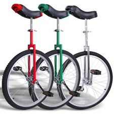 "24"" Wheel Unicycle w Stand 1.75 Skidproof Tire Cycling Mountain Red/Chrome/Green"