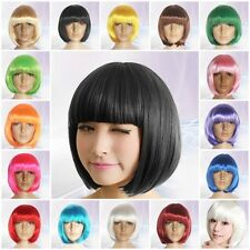 Many Colors Womens Sexy Short Bobo Cut Full Wig 25cm Long Straight Cosplay Wigs
