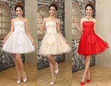 Wedding Formal Prom Cocktail Evening Party Dress Bridesmaid Dress Strapless Gown