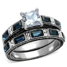 One Carat Princess Cut CZ/Sapphire CZ Stainless Steel Wedding RING SET SZ 5-10