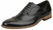 Mens Brand New Black Leather Lined Lace Up Brogue Shoes Size 6 7 8 9 10 11 12