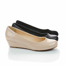 Corey Round Toe Low Wedge Comfort Heels