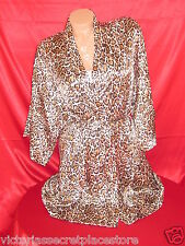 VICTORIAS SECRET LEOPARD SATIN ROBE BACKSTAGE WRAP KIMONO MOVIE STAR LUXURIOUS