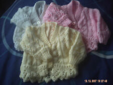 Hand Knitted Baby Girls Cardigan Size 0-3 Months.