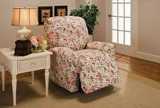 PINK OR BLUE FLORAL-RECLINER COVER-ALSO IN SOFA COUCH LOVESEAT CHAIR FUTON SLIP