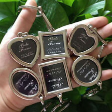 DIY  Heart Shaped Insert Photo Picture Frame Keyring Alloy Keychain Split Ring