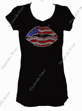 Women's Rhinestone T-Shirt  American Flag Lips in Size Sm to 3X, 4th of July