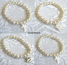 Baby IVORY pearl CROSS - BUTTERFLY - PRINCESS charm bracelet Christening gift