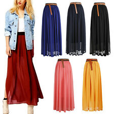 Women Chiffon Pleated Retro Maxi Elastic Waist Long Skirt Dress Black Red