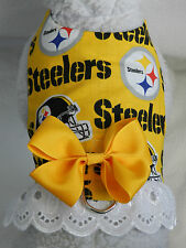 DOG CAT FERRET Harness~NFL Pittsburgh Team STEELERS Cheerleader YLW Bow & Lace