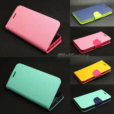 Dual Color Leather Case Flip Stand Card Wallet Cover for iPhone 4s 5 5s 6 6 Plus