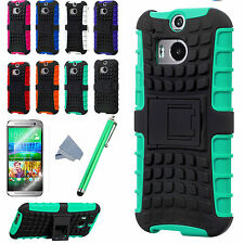 For HTC One M8 Armor Shockproof Heavy Hard Stand Phone Case Cover + Protect Film